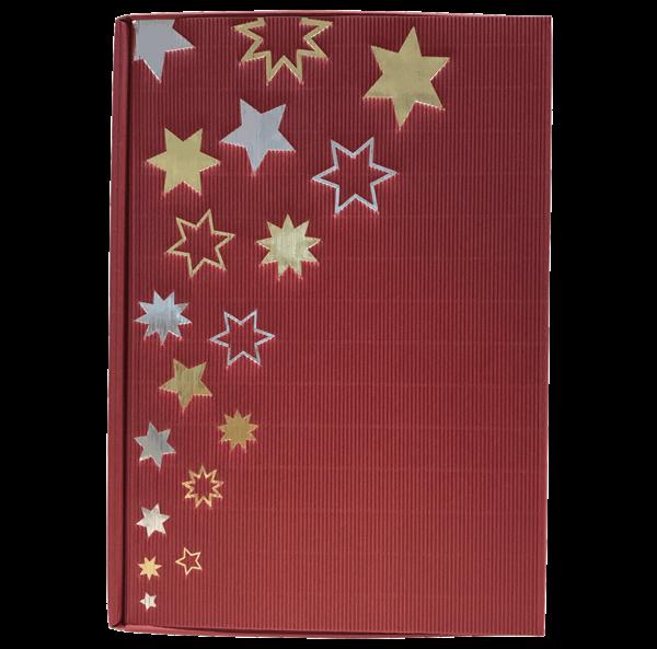 Präsentkarton 6er bordeaux Sterne