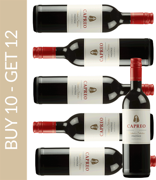 Wein des Monats Januar CAPREO Vintner's Selection Pinotage 2017 - Buy 10 get 12